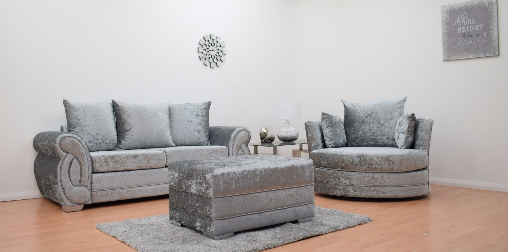Furnish365 | Chloe 3 Seater Sofa + Cuddle Chair + Footstool – Silver Pertaining To 3 Seater Sofas And Cuddle Chairs (View 9 of 10)