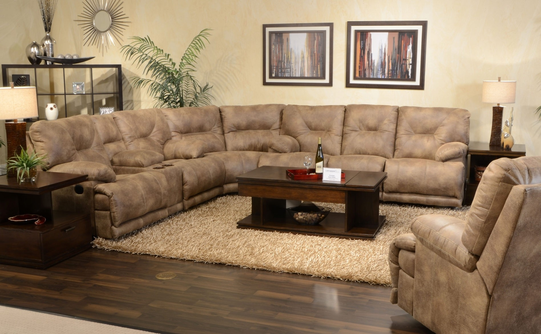 Furniture : Barcelona Sectional Sofa & Ottoman In Beige Sofa 3 Intended For Sectional Sofas For Small Doorways (View 5 of 10)