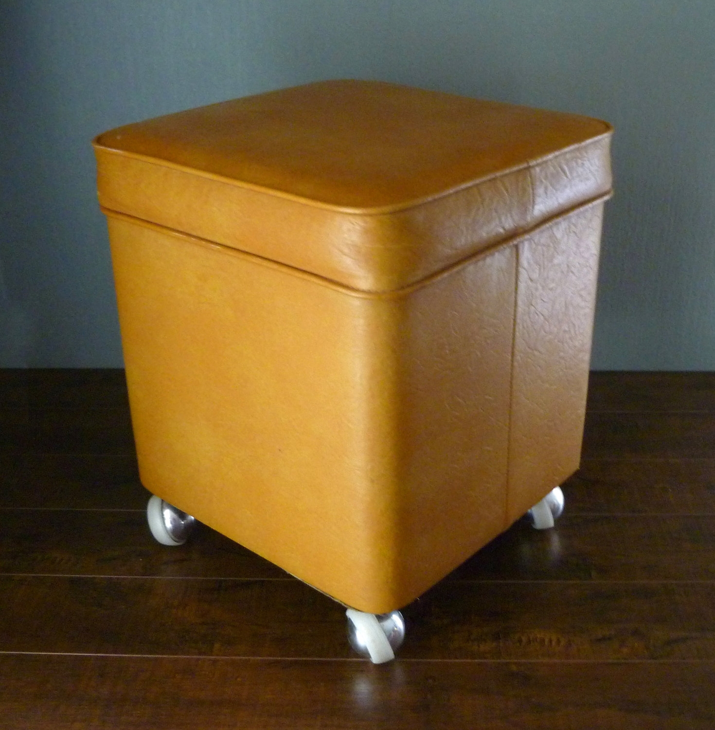 Furniture: Leather Yellow Ottoman With Small Leather Storage Ottoman Throughout Ottomans With Wheels (Image 6 of 10)