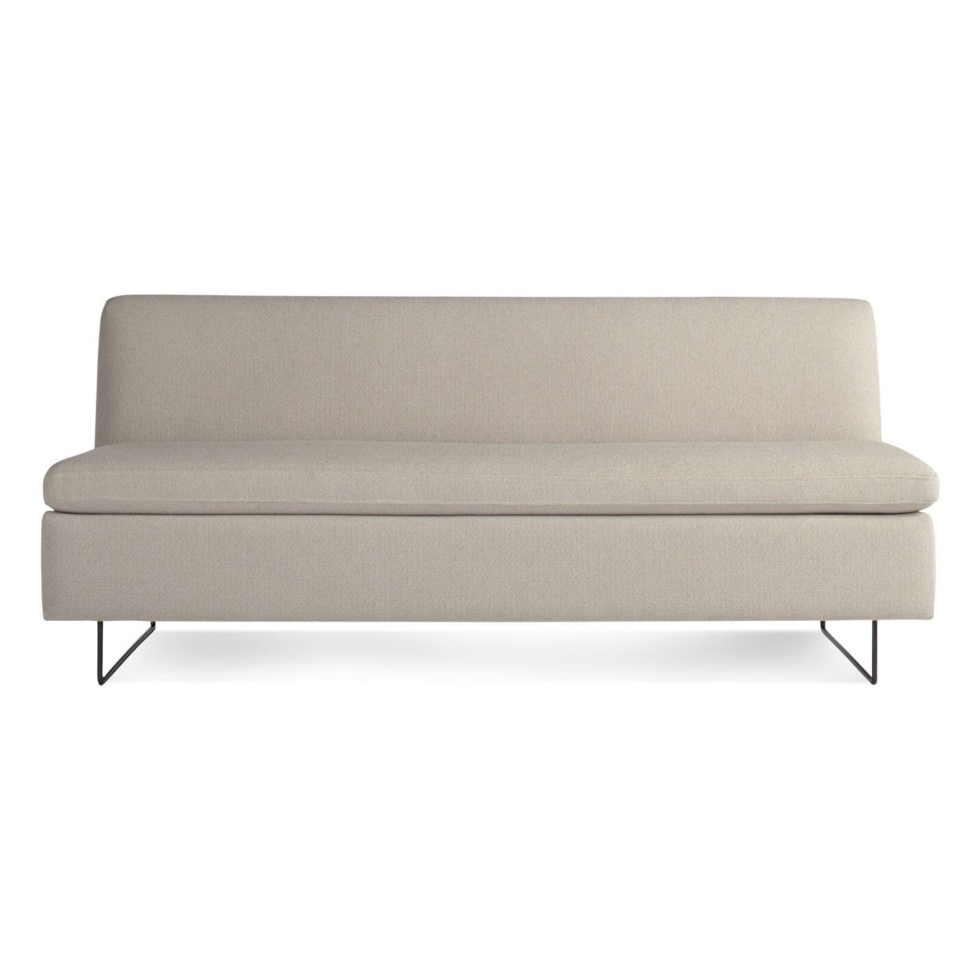 Furniture: Linen Upholstered Armless Sofa For Modern Living Room Design Regarding Small Armless Sofas (Image 3 of 10)
