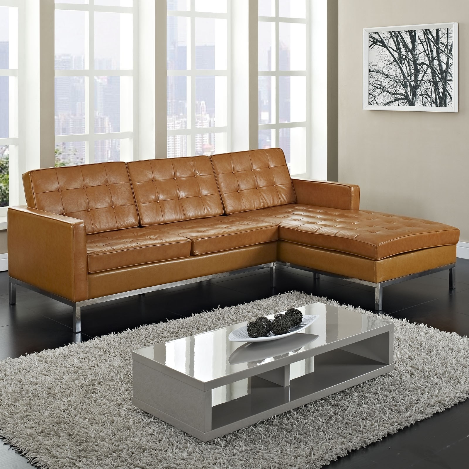 Furniture, Maximizing Small Living Room Spaces With 3 Piece Brown Inside Tufted Sectional Sofas (Image 2 of 10)