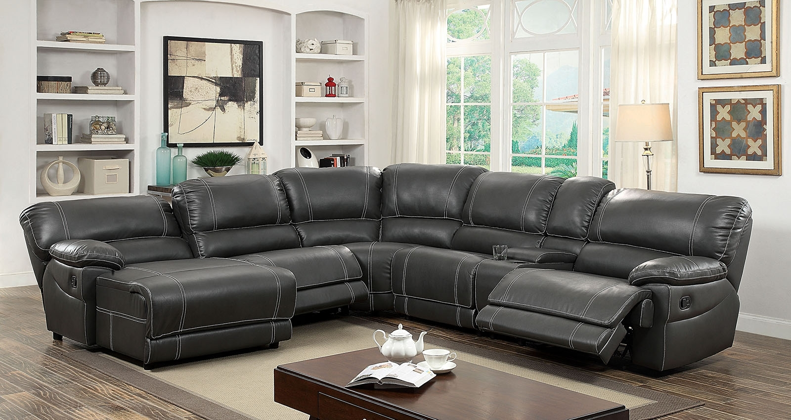 Furniture Of America 6131Gy Gray Reclining Chaise Console Sectional Pertaining To Orange County Ca Sectional Sofas (View 2 of 10)