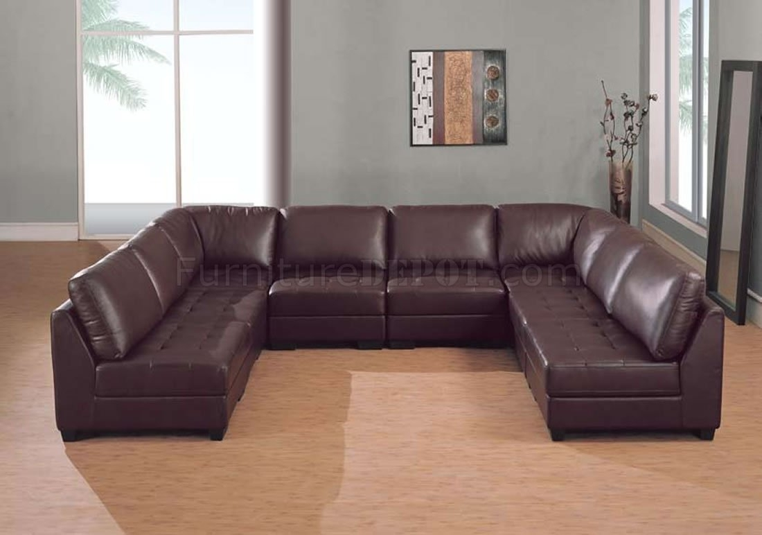 Furniture: U Shaped Leather Sectional Sofa In Dark Brown For Living Throughout U Shaped Leather Sectional Sofas (View 10 of 10)