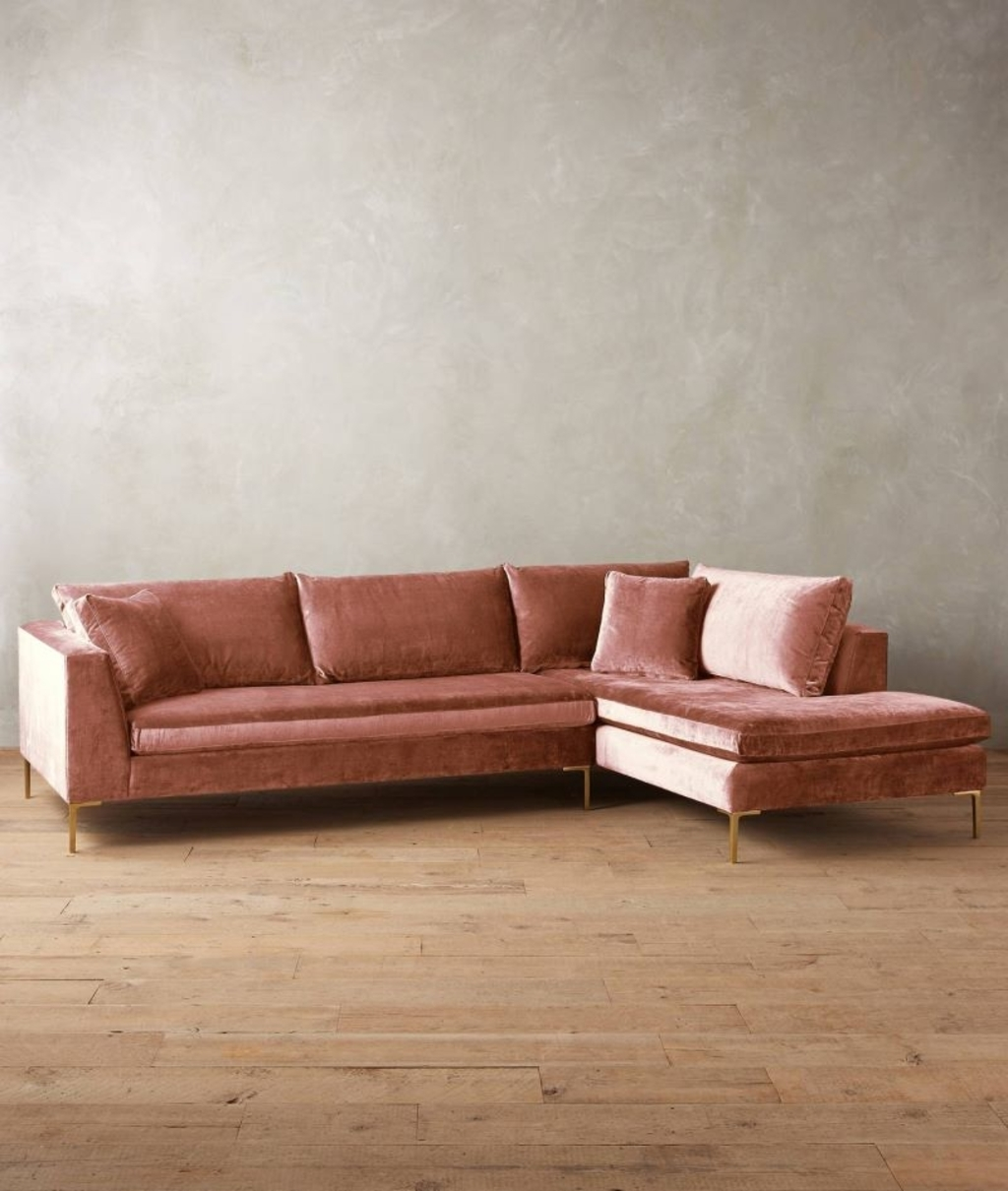 Furniture: Velvet Sectional Sofa From Anthropologie – 20 Modular For Velvet Sectional Sofas (View 9 of 10)