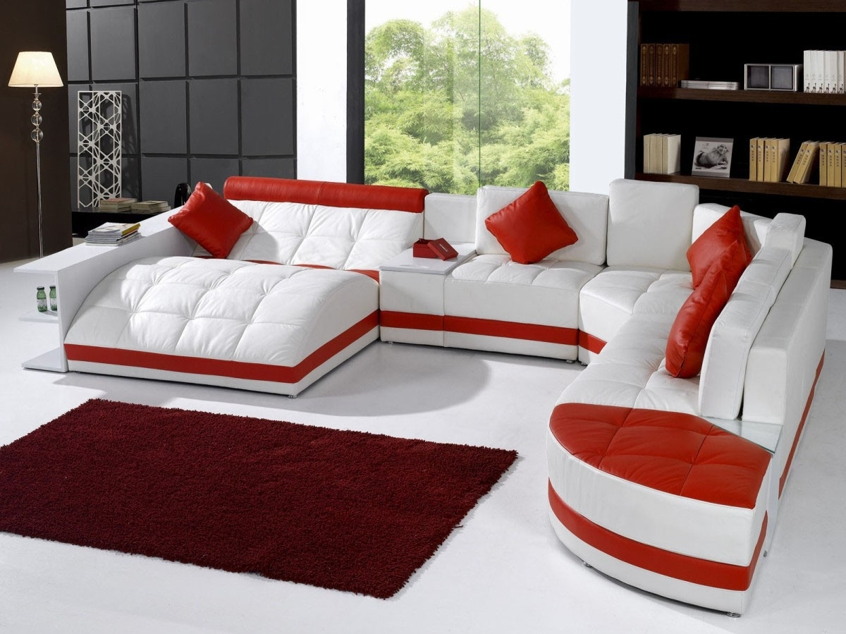 Furniture: White Leather Sectional Sofa With Recliner And Red Intended For Red Leather Sectional Sofas With Recliners (View 4 of 10)