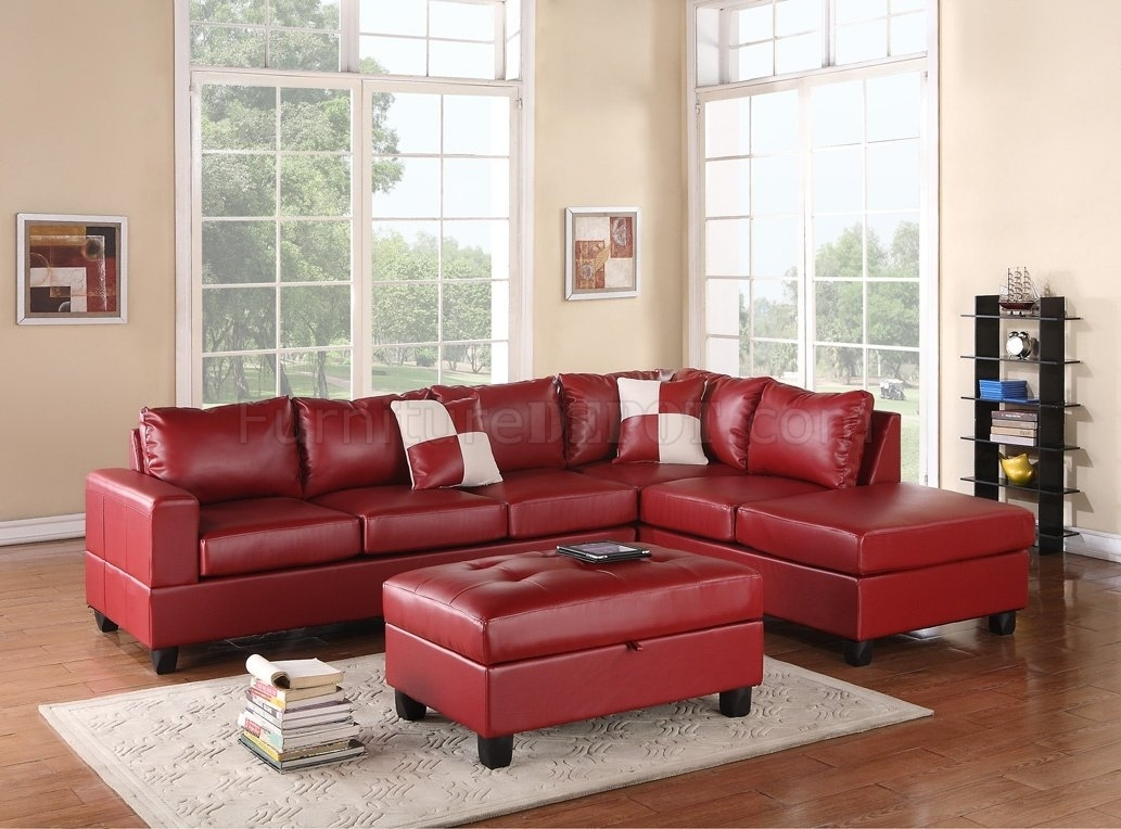 G309 Sectional Sofa In Red Bonded Leatherglory W/ottoman Intended For Red Sectional Sofas With Ottoman (Image 5 of 10)