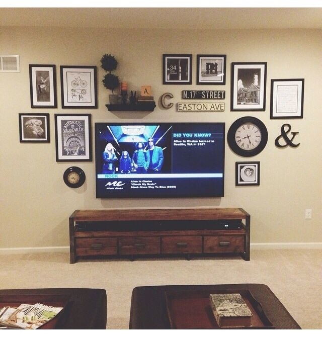 Gallery Wall Behind Tv | Living Room | Pinterest | Gallery Wall Within Wall Accents Behind Tv Or Couch (View 10 of 15)