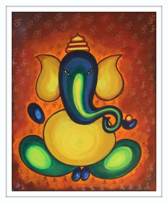 Ganesh Painting, Acrylic On Canvas, Om Art, Modern Abstract In Abstract Ganesha Wall Art (View 4 of 15)