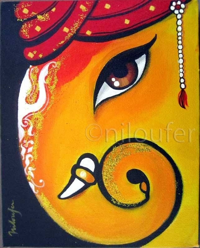 Ganesha Acrylics On Canvas Niloufer Wadia | Portfolio Art For Abstract Ganesha Wall Art (View 8 of 15)
