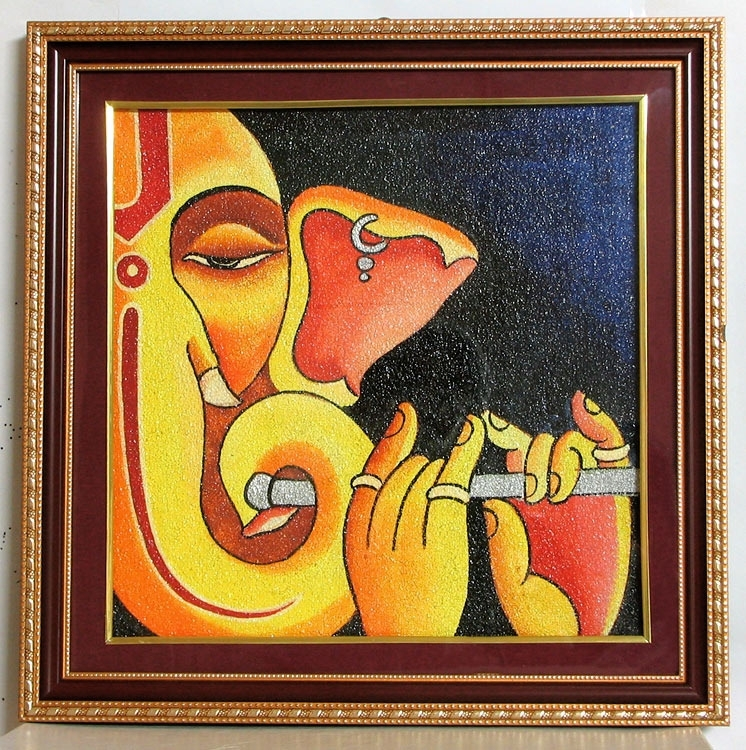 Ganesha – Ceramic Dust – Framed With Glass | Illustrations Intended For Abstract Ganesha Wall Art (View 15 of 15)