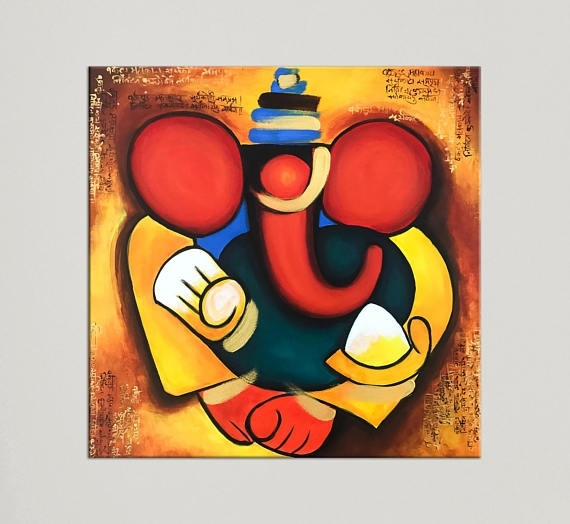 Ganesha Painting Indian Art Painting On Canvas Indian Pertaining To Abstract Ganesha Wall Art (View 6 of 15)