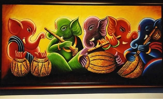 Ganesha Paintings Acrylic – Google Search | Hindu Gods | Pinterest In Abstract Ganesha Wall Art (View 10 of 15)