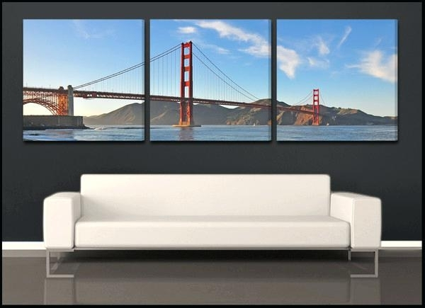 Gate Wall Art Panoramic Wall Art Canvas Prints Golden Gate Bridge Within Golden Gate Bridge Canvas Wall Art (View 3 of 15)