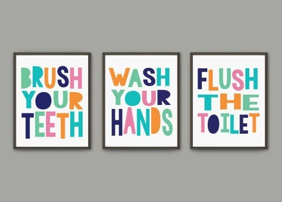 Gender Neutral Kids Bathroom Print Set | Brush Wash Flush | Three Regarding Vintage Bath Framed Art Prints Set Of (View 4 of 15)