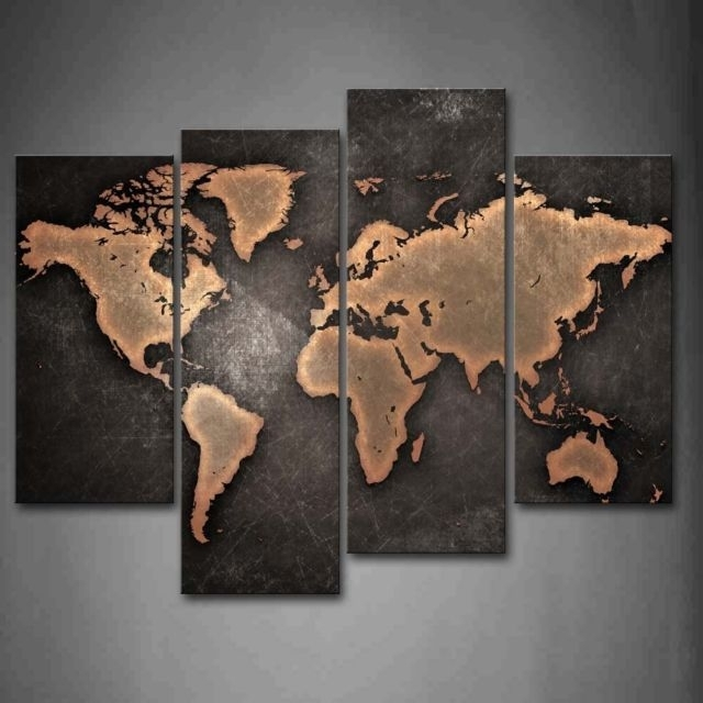General World Map Black Background Wall Art Painting Pictures With Regard To Maps Canvas Wall Art (View 13 of 15)