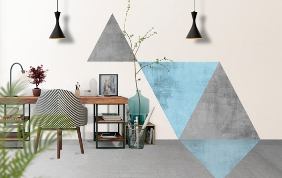 Geometric Blue Triangles Wall Art Floor Graphics Intended For Geometric Fabric Wall Art (View 11 of 15)
