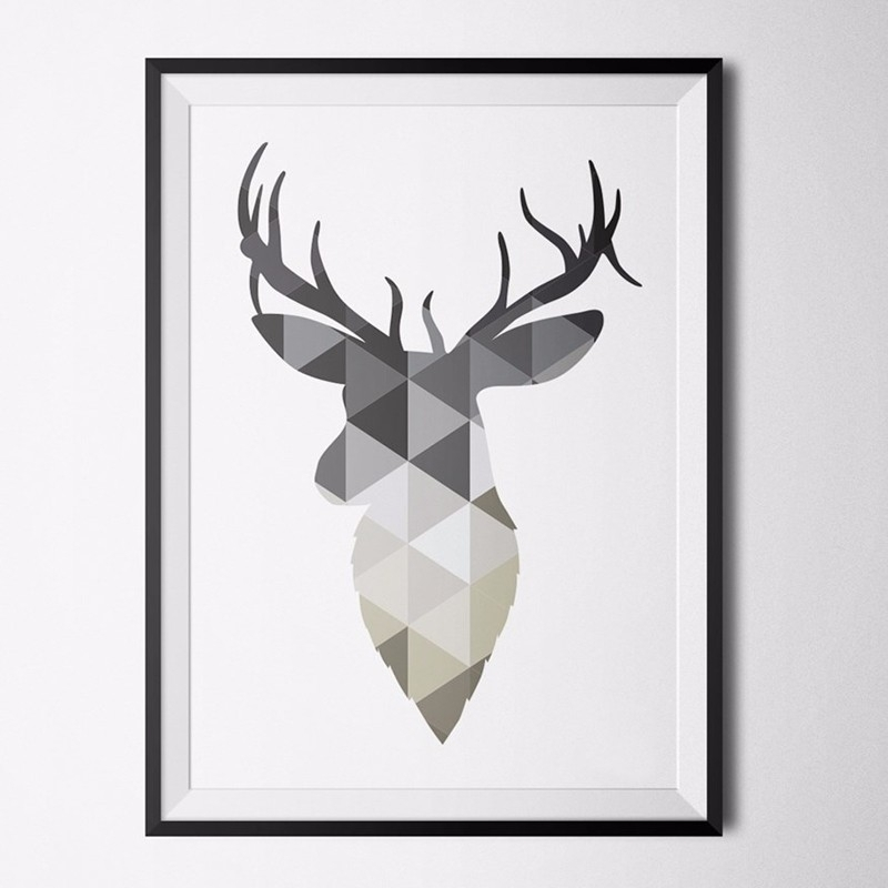 Geometric Design Deer Head Print Canvas Picture,nordic Animals Throughout Framed Animal Art Prints (View 15 of 15)