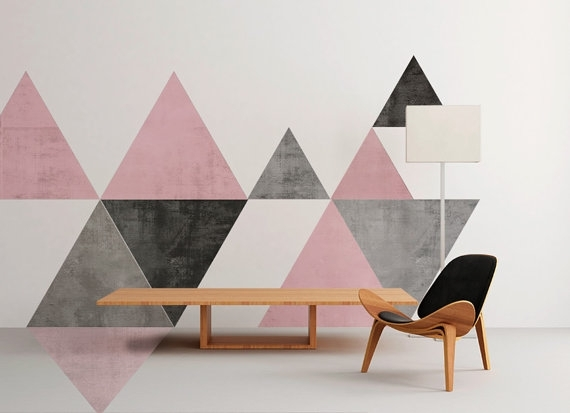 Geometric Mid Century Wall Art Floor Graphics In Geometric Fabric Wall Art (View 3 of 15)