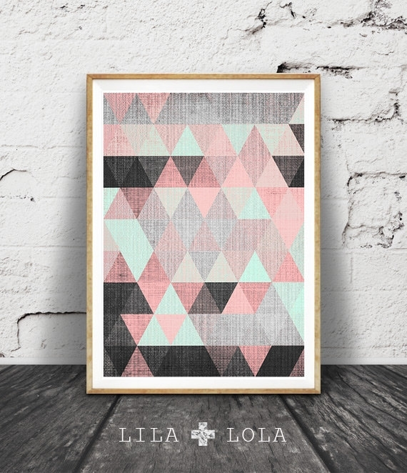 Geometric Print, Printable Wall Art, Pink Black And Mint Green Within Pink Abstract Wall Art (View 14 of 15)