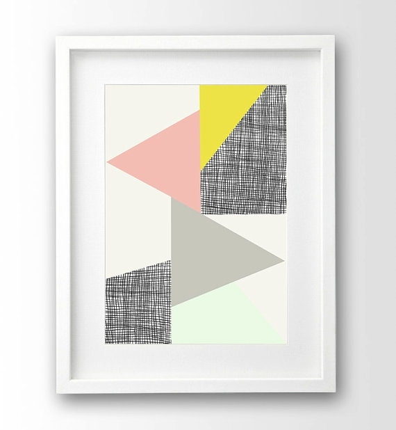 Geometric Wall Art Triangle Print Pastel Art Pink And Pertaining To Pastel Abstract Wall Art (View 8 of 15)