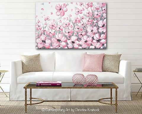 Giclee Print Abstract Painting Pink Poppies Flowers Grey White Throughout Pink Canvas Wall Art (Image 4 of 15)