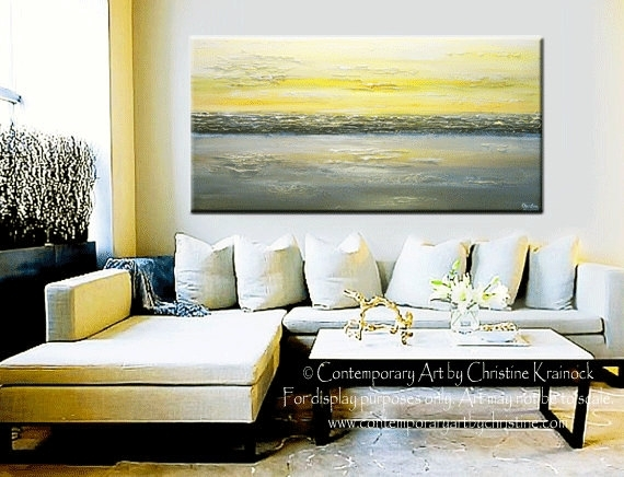 Giclee Print Art Abstract Painting Yellow Grey Wall Art Coastal For Grey Abstract Canvas Wall Art (View 15 of 15)