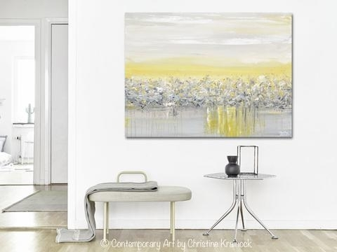 Giclee Print Art Yellow Grey Abstract Painting Modern Coastal Regarding Grey Canvas Wall Art (View 3 of 15)