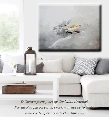 Giclee Print Grey Gold Abstract Painting Modern Coastal Wall Art Inside Grey Canvas Wall Art (View 5 of 15)