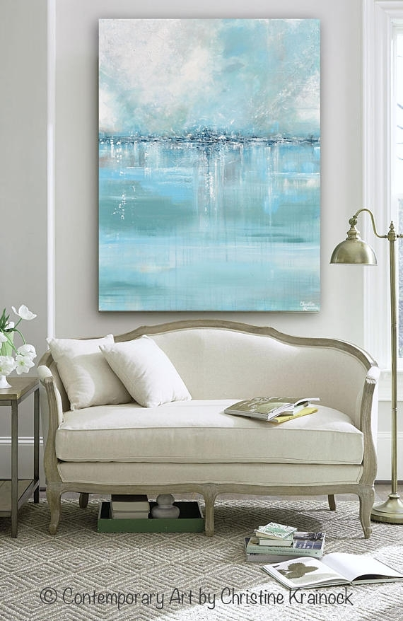 Giclee Print Large Art Abstract Painting Blue White Grey Wall Throughout Grey Canvas Wall Art (View 4 of 15)