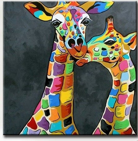 Giraffe Picture Art For Living Room Hand Painted Modern Abstract With Regard To Giraffe Canvas Wall Art (View 8 of 15)