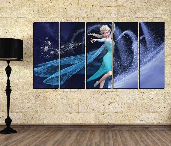 Girl Canvas Wall Art Elsa Canvas Wall Art Disney Canvas Within Elsa Canvas Wall Art (Image 14 of 15)
