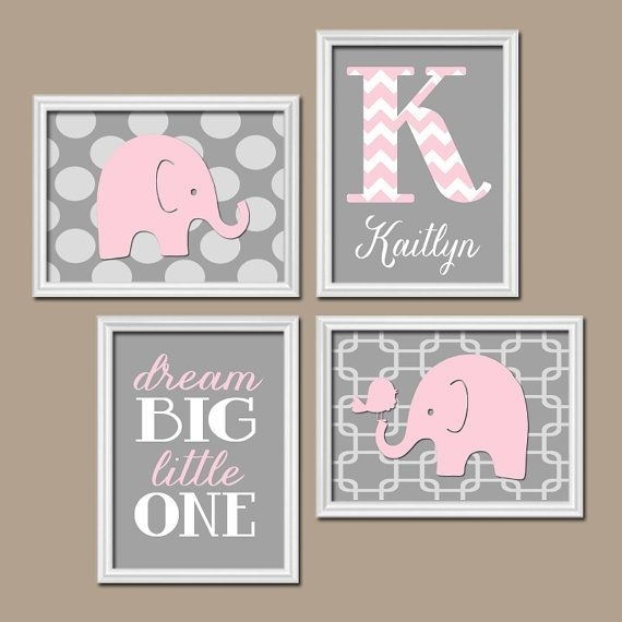 Girl Elephant Nursery Art – Pink Gray Elephant Nursery Wall Art Intended For Custom Nursery Canvas Wall Art (View 2 of 15)