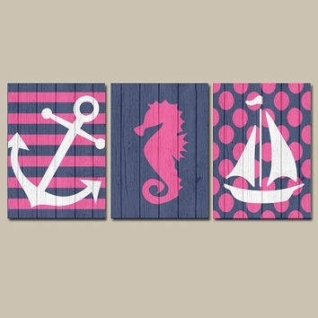 Girl Nautical Canvas Or Prints Wall Art From Trm Design | Wall For Girl Canvas Wall Art (Image 6 of 15)