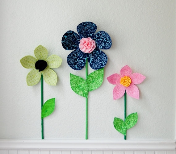 Girl Room, Nursery Decor, Flower Wall Decal Art, 3D Wall Art With Regard To Fabric Flower Wall Art (View 6 of 15)