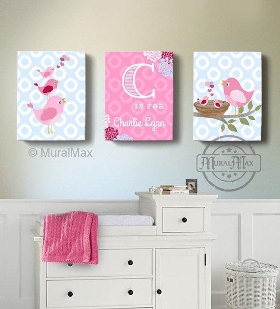 Girls Wall Art Birdies Canvas Art Baby Nursery Decor Within Girl Canvas Wall Art (View 6 of 15)