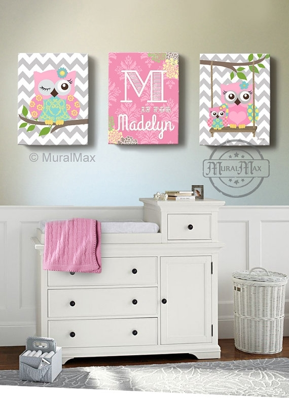 Girls Wall Art Owl Canvas Art Baby Nursery Owl Canvas Set Regarding Nursery Canvas Wall Art (View 8 of 15)