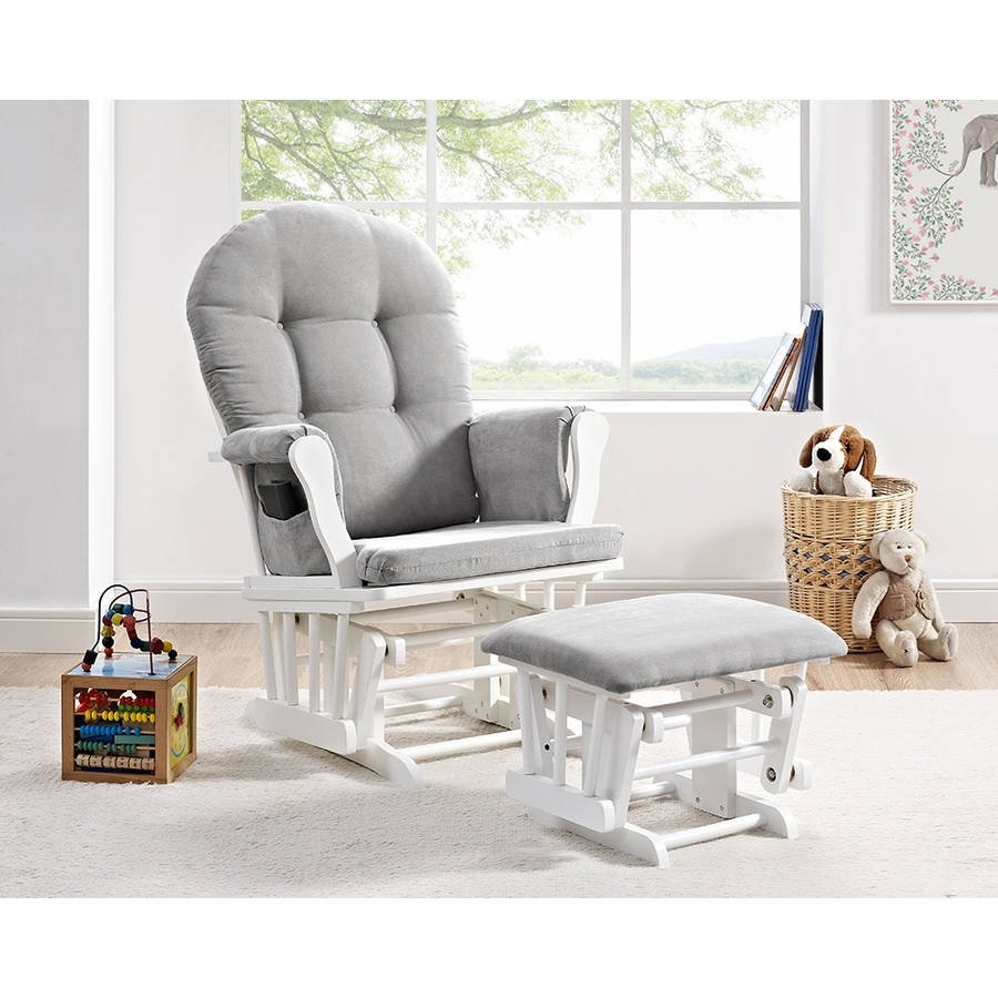 Glider Ottoman Furniture Nursery Chair Baby Rocking Set White With Throughout Gliders With Ottoman (View 4 of 10)