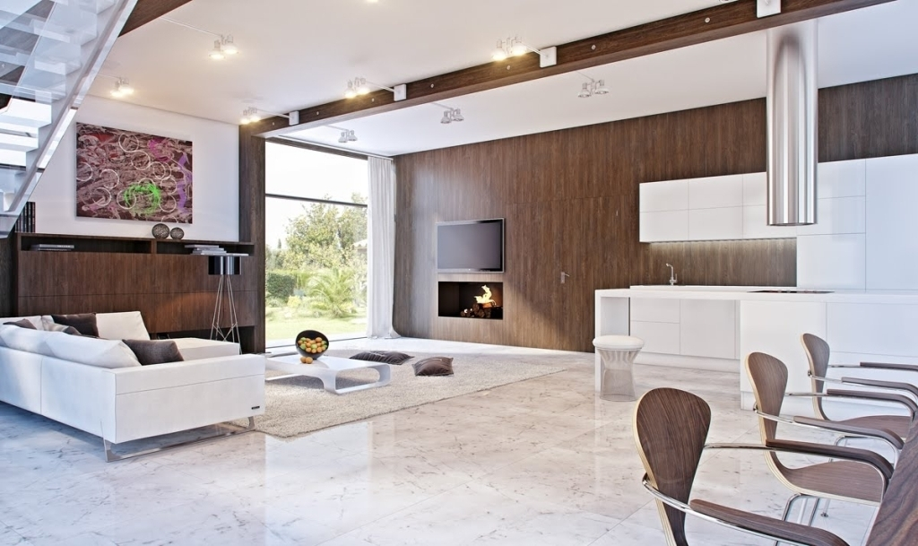 Glossy White Marble Flooring Design For Modern Living Room Ideas Throughout Wall Accents For L Shaped Room (View 15 of 15)