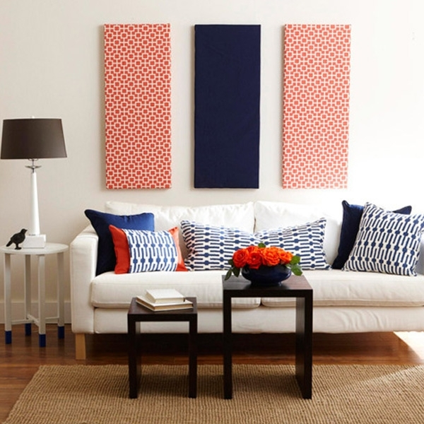 Go From Blank To Beautiful With Fabric Wall Art – Modernize For Navy Wall Accents (Image 7 of 15)