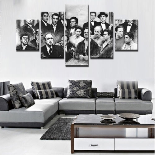 Godfather 5 Pcs Gangster Movie Painting Print Canvas Wall Art In Movies Canvas Wall Art (Image 8 of 15)