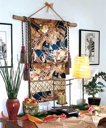 Gold Bamboo Frames With Navy Blue Chinoiserie Fabric! | Timeless Pertaining To Asian Fabric Wall Art (Image 10 of 15)