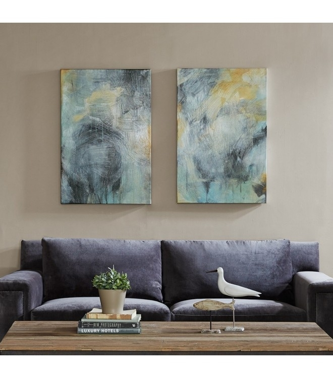 & Gold Brush Stroke Abstract Canvas Wall Art With Grey Canvas Wall Art (Image 1 of 15)