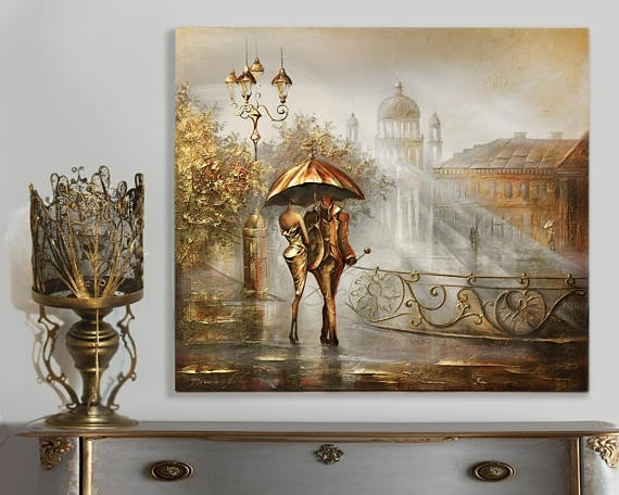 Gold Canvas Painting Wall Art Impasto Painting Gold Leaf Regarding Gold Canvas Wall Art (View 12 of 15)