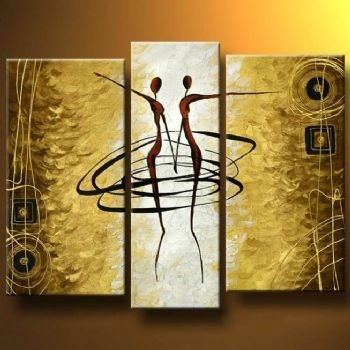 Gold Dance I Modern Canvas Oil Painting Wall Art With Stretched Pertaining To Dance Canvas Wall Art (Image 9 of 15)
