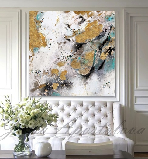Gold Leaf Painting Black White Gold Art Abstract Print Inside Abstract Leaves Wall Art (Image 7 of 15)