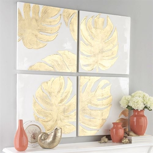 Gold Monstera Leaf 4 Pc Canvas Wall Art Set For Gold Canvas Wall Art (View 7 of 15)