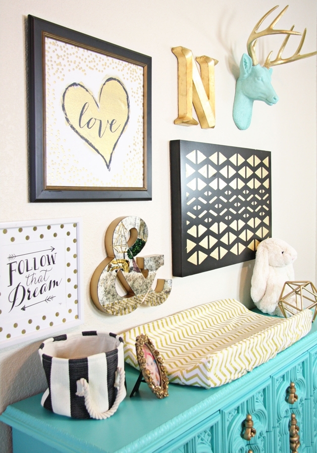 Gold Nursery Design – We Love The Turquoise Accents! | Caden Lane Throughout Hobby Lobby Wall Accents (Image 7 of 15)