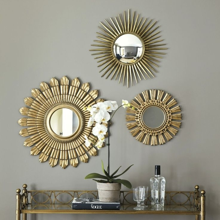 Gold Sunburst Wall Mirror With Different Size And Styles Also Within Mirror Sets Wall Accents (Image 6 of 15)