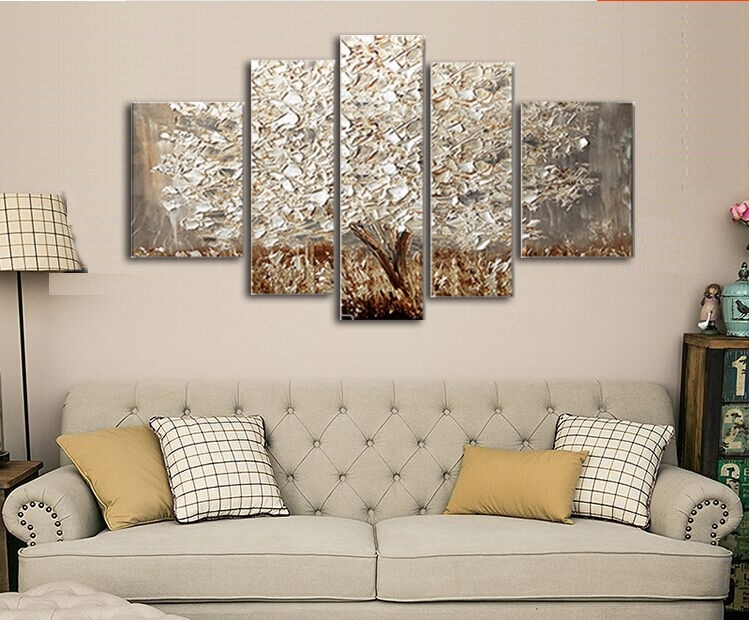 Golden Abstract Fortune Lucky Trees Handmade Landscape Oil In Gold Canvas Wall Art (View 10 of 15)
