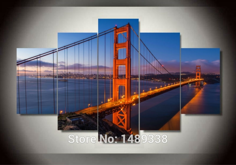 Golden Gate Bridge 5 Panels/set Large Hd Picture Canvas Modern Within Golden Gate Bridge Canvas Wall Art (Image 10 of 15)